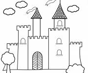 Free coloring and drawings vector castle Coloring page