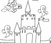 Coloring pages witch castle