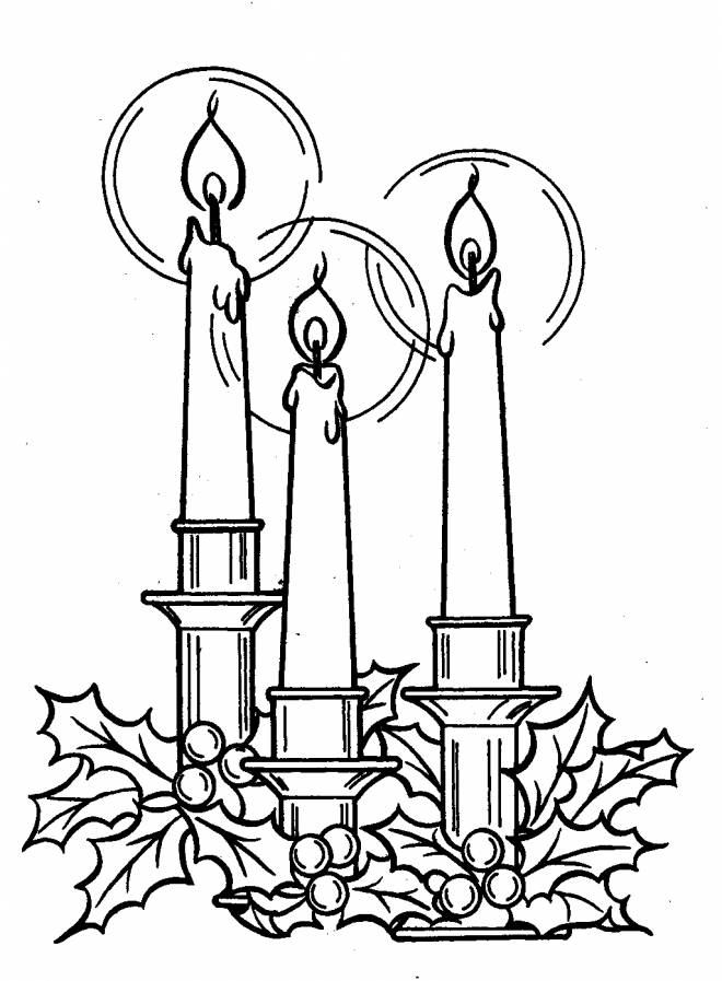 Free coloring and drawings 3 illuminated candles Coloring page