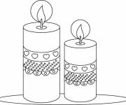 Coloring pages candles decorated with hearts