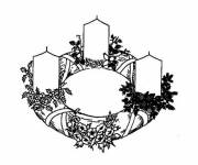 Coloring pages christmas wreath and candles