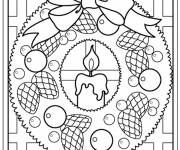Coloring pages christmas wreath candle