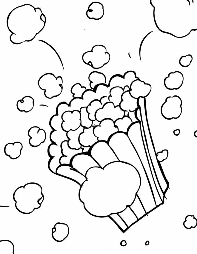 Free coloring and drawings Popcorn in The Cinema Room Coloring page