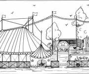 Coloring pages Circus Facade of Marquee