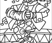 Coloring pages Cirque Clown unicycle