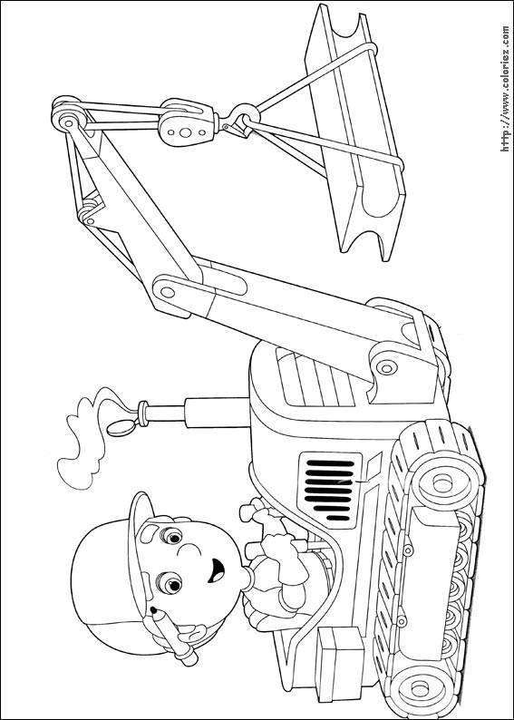 Free coloring and drawings A boy drives a mechanical shovel Coloring page