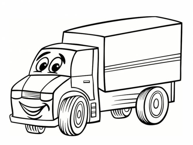 Free coloring and drawings A happy truck Coloring page