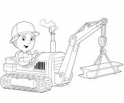 Free coloring and drawings A small child drives the backhoe loader Coloring page