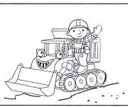 Free coloring and drawings Color handyman and bulldozer Coloring page