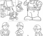 Free coloring and drawings Handyman at the Site Coloring page