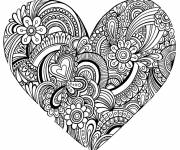 Coloring pages Hearts and Adult Love