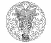 Coloring pages Mandala Dragon difficult