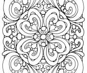 Coloring pages Adult Difficult Heart Vector