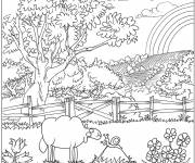 Coloring pages Challenging Countryside Landscape