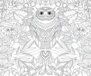 Coloring pages Difficult artistic owl