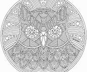 Coloring pages Difficult Mandala Owl