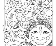 Coloring pages Difficult Planets and Stars
