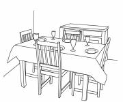 Coloring pages Black and white dining room