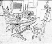Coloring pages Realistic dining room