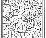 Coloring pages Rabbits numbered