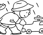 Coloring pages boy plays in autumn rain