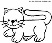 Coloring pages Easy cat to cut