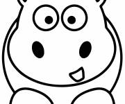 Coloring pages Simple hippo for kindergarten
