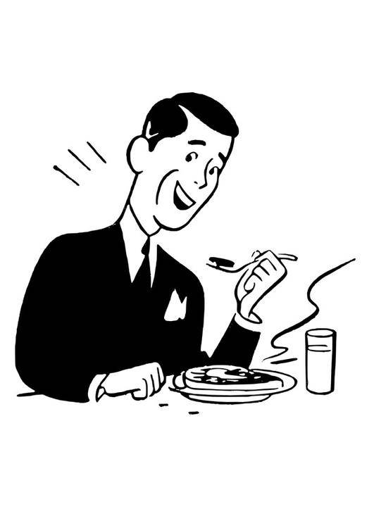 Free coloring and drawings A man takes his meal Coloring page