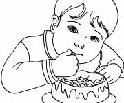 Coloring pages Child Eating A Cake