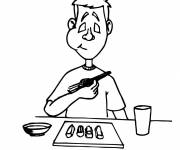 Free coloring and drawings Meal food with chopsticks Coloring page
