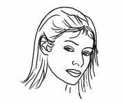 Free coloring and drawings Colored woman face Coloring page