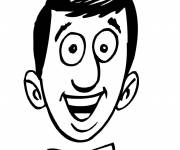 Free coloring and drawings Smiling man face Coloring page