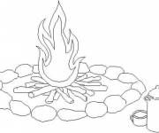 Coloring pages Fire for brewing coffee
