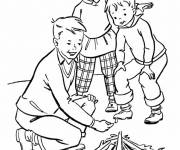 Coloring pages The little ones light the fire Camping