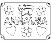 Coloring pages My First Name Annalisa with Love Hearts