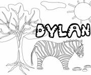 Coloring pages My First Name Dylan with Landscape