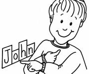 Coloring pages My First Name John for Boy