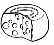 Free coloring and drawings Food Stylized Cheese Coloring page