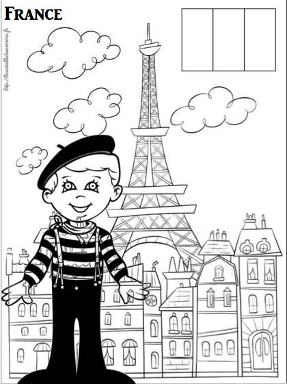 Free coloring and drawings A Parisian boy in France Coloring page