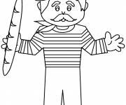 Free coloring and drawings Baguette in France Coloring page