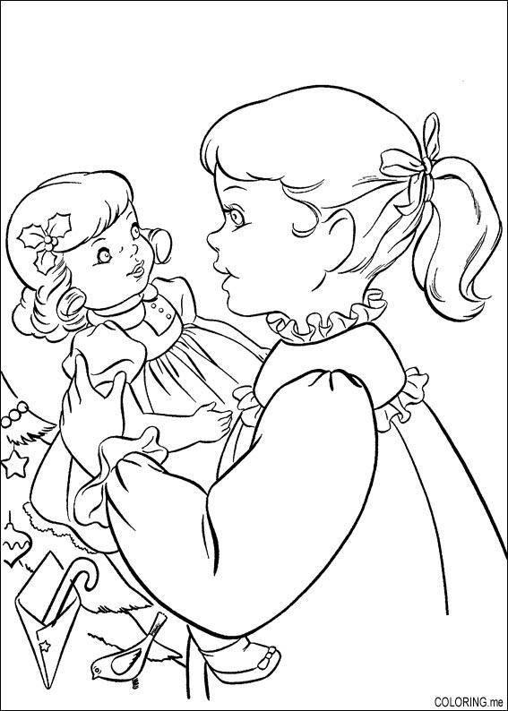 Free coloring and drawings 10 year old girl and her doll Coloring page