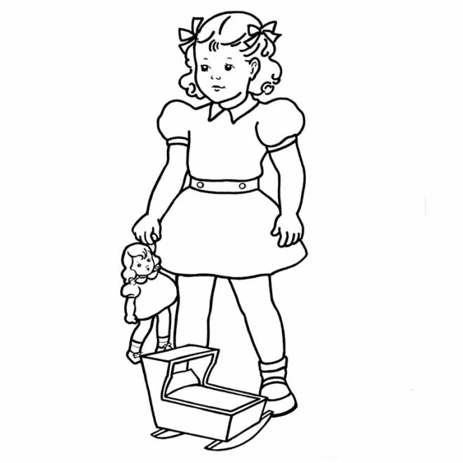 Free coloring and drawings 12 year old girl carries her doll Coloring page