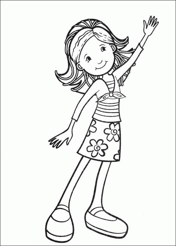 Free coloring and drawings A beautiful girl greets you Coloring page