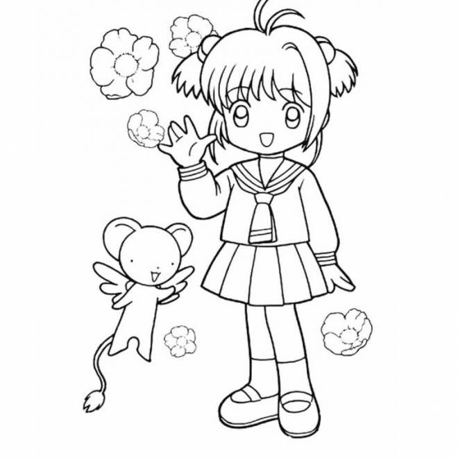 Free coloring and drawings Cartoon girl Coloring page