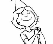 Coloring pages Girl is wearing a hat
