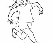 Coloring pages Girl playing ball