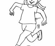 Coloring pages Girl shoots the ball