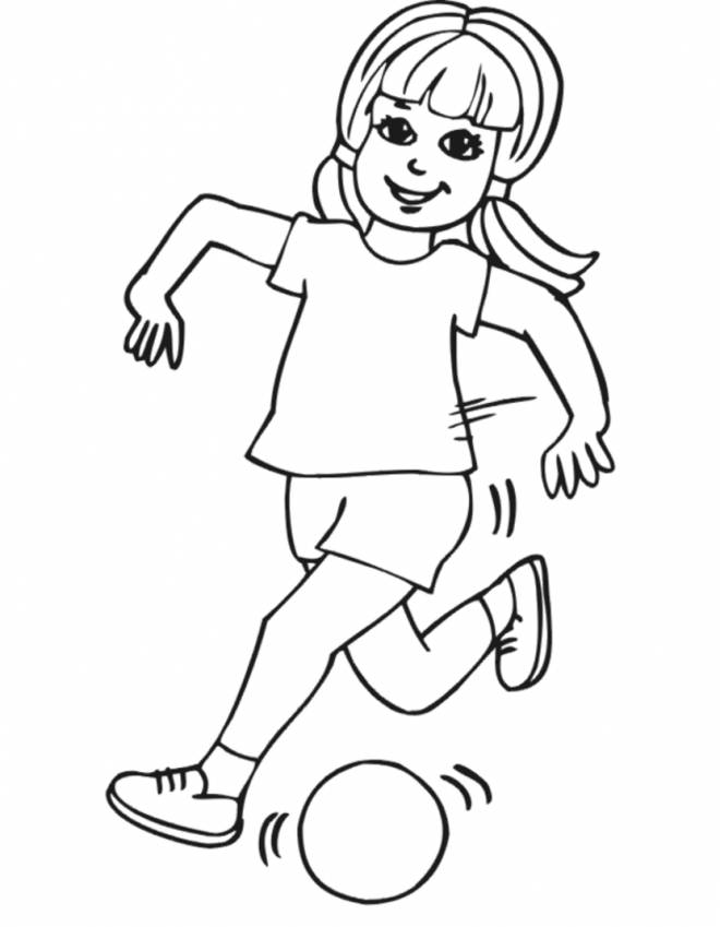 Free coloring and drawings Girl shoots the ball Coloring page
