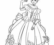 Coloring pages Princess wears an adorable dress