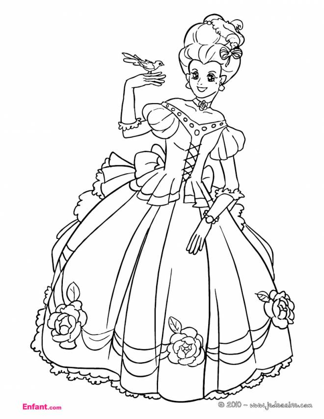Free coloring and drawings Princess wears an adorable dress Coloring page